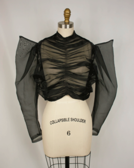 sheer, organza, rockstar top, top, blouse, black sheer top, unique outerwear, pointed sleeve, one of a kind, custom clothing