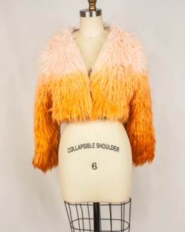 orange, ombre, faux fur, hand made, unique, one of a kind of, silk lining